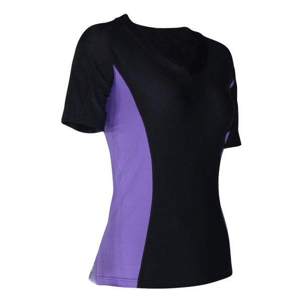 o2fit Womens Compression Short Sleeve Top - Charcoal/Purple