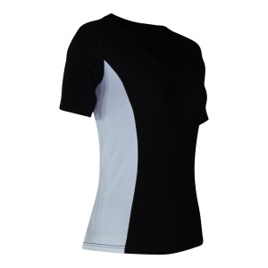 o2fit Womens Compression Short Sleeve Top - Black/White