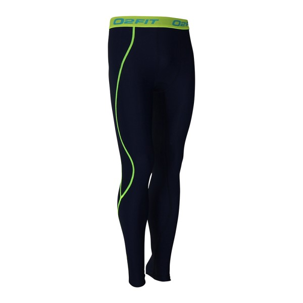 o2fit Mens Compression Pants - Navy/Green