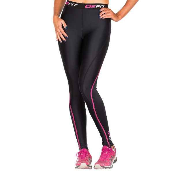 o2fit Womens Compression Tights - Black/Pink