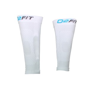 o2fit Unisex Compression Recovery Calf Sleeves - White