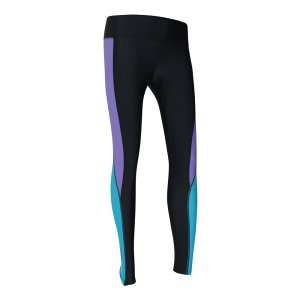 o2fit Womens High Waist Compression Tights - Charcoal/Purple/Aqua
